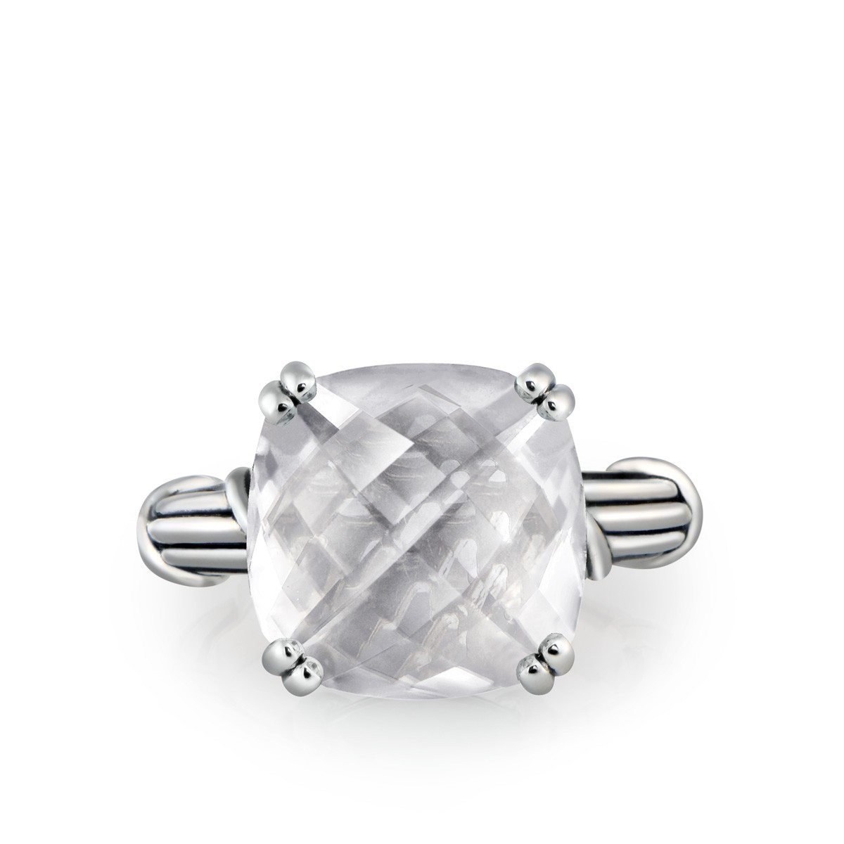 Fantasies Rock Crystal Cocktail Ring in sterling silver 14mm