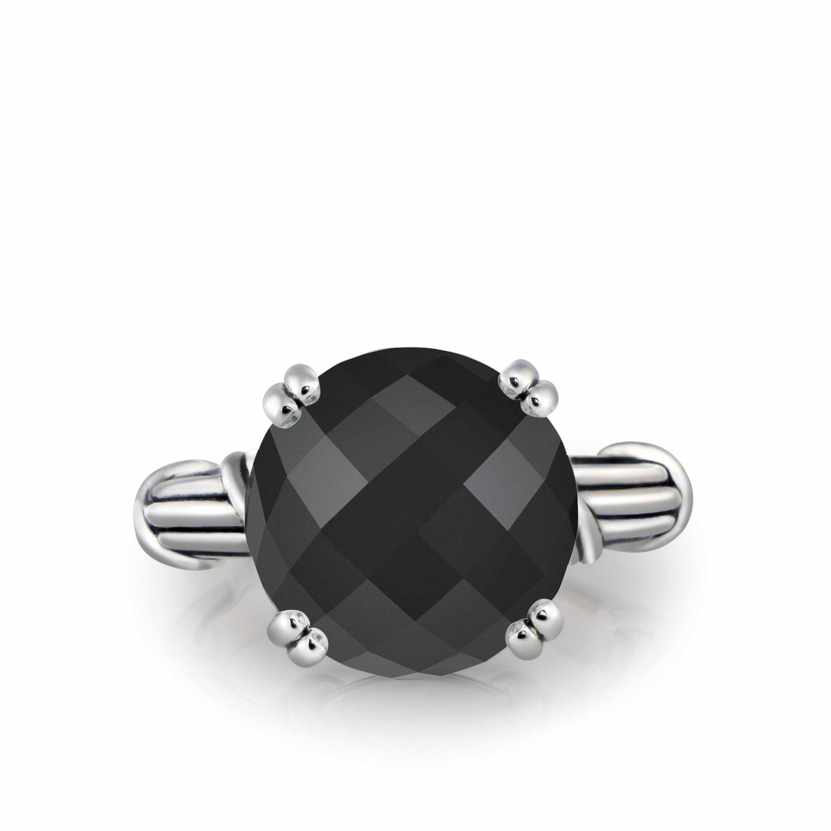 Fantasies Black Onyx Cocktail Ring in sterling silver