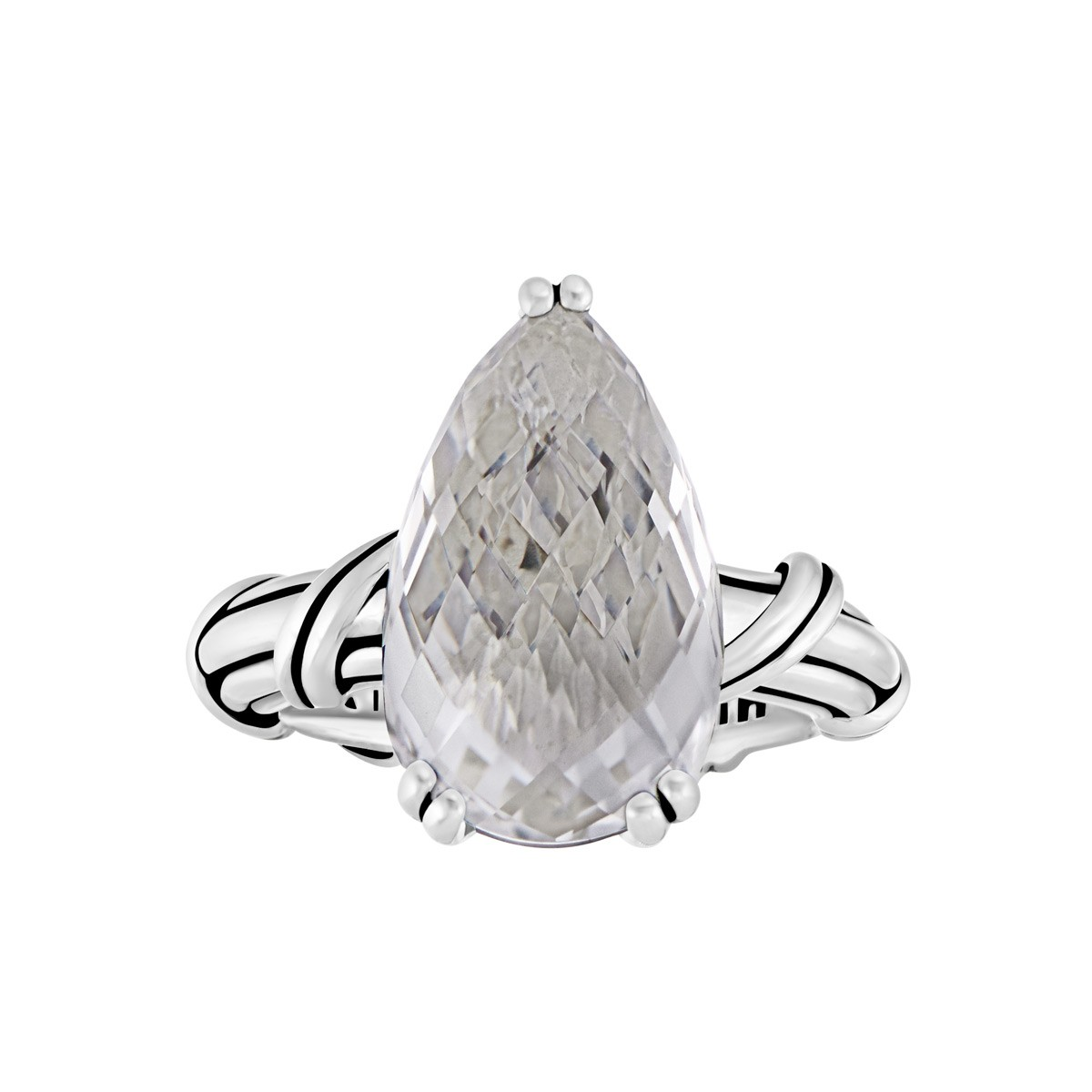 Fantasies Rock Crystal Pear Cocktail Ring in sterling silver