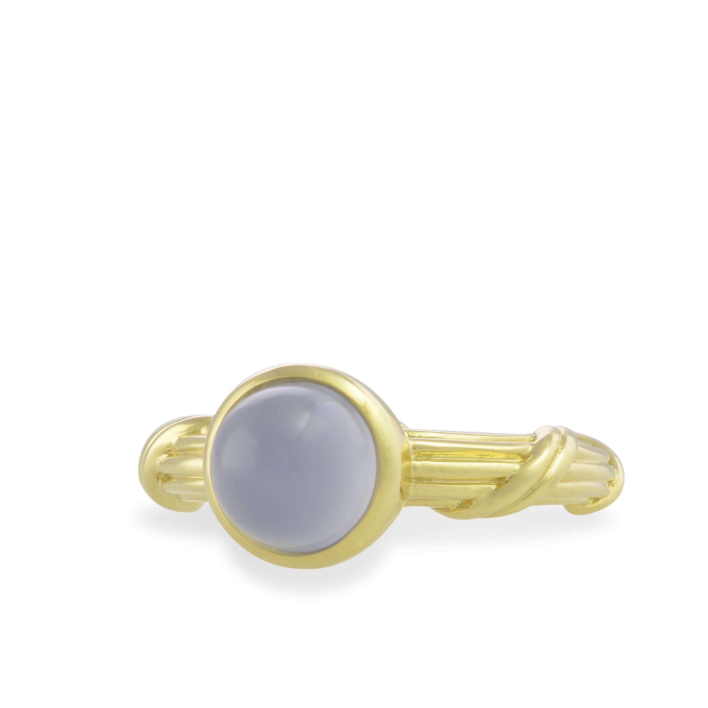 Chalcedony Bezel Set Cabochon Ring in 18K yellow gold