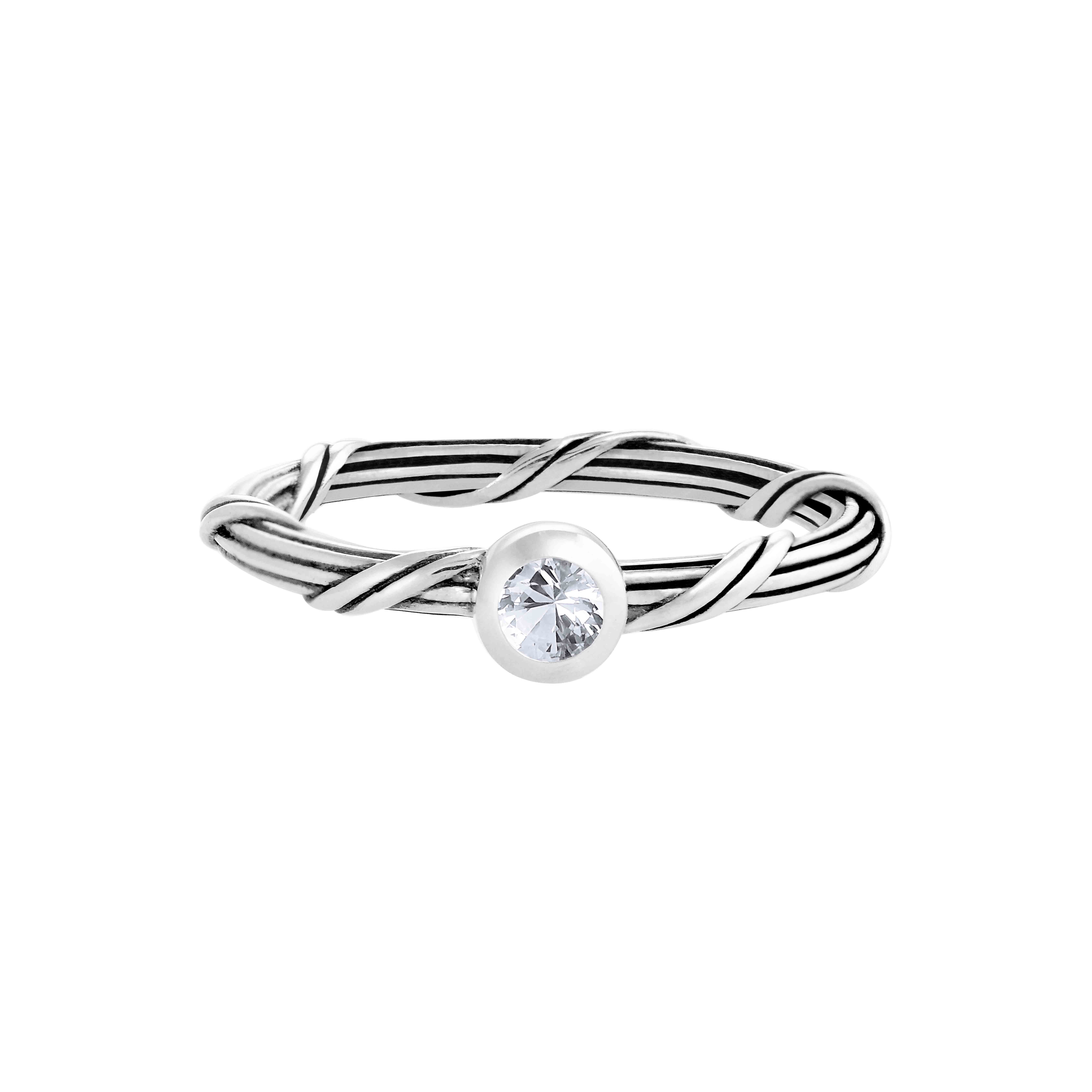 Signature Romance White Sapphire Ring in sterling silver