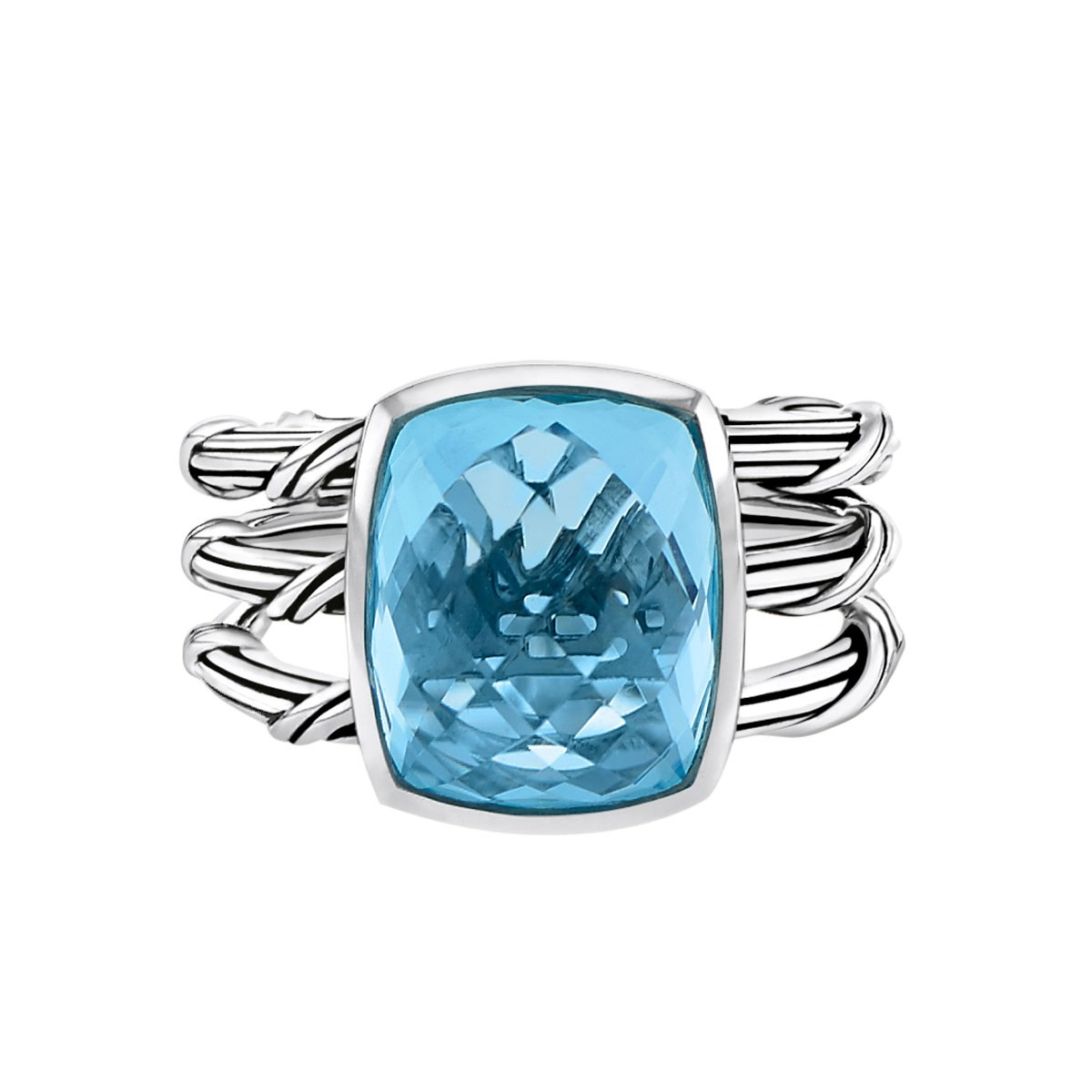 Fantasies Blue Topaz 3 Row Cocktail Ring in sterling silver