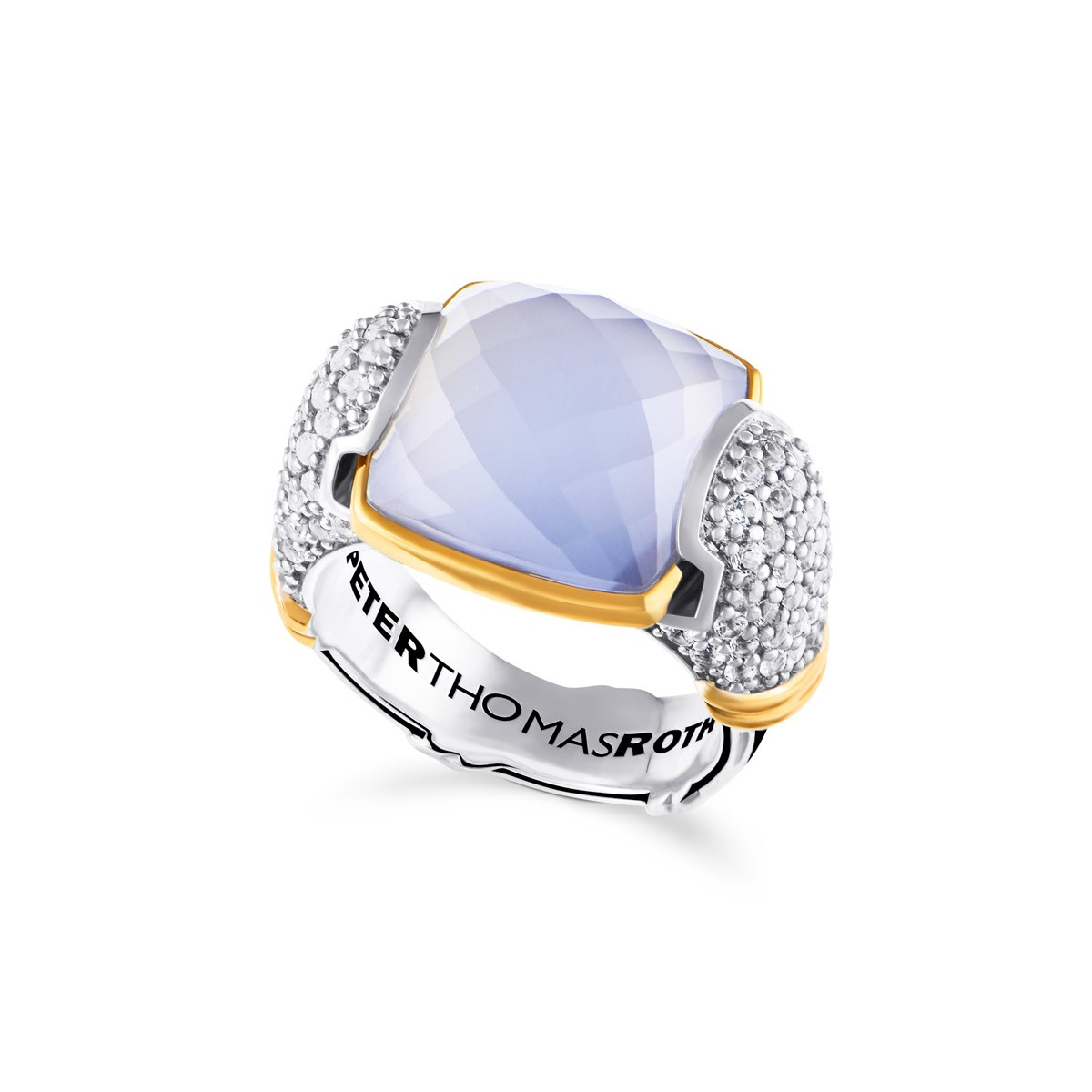 Fantasies Blue Chalcedony Pave Statement Ring in two tone sterling silver with white topaz