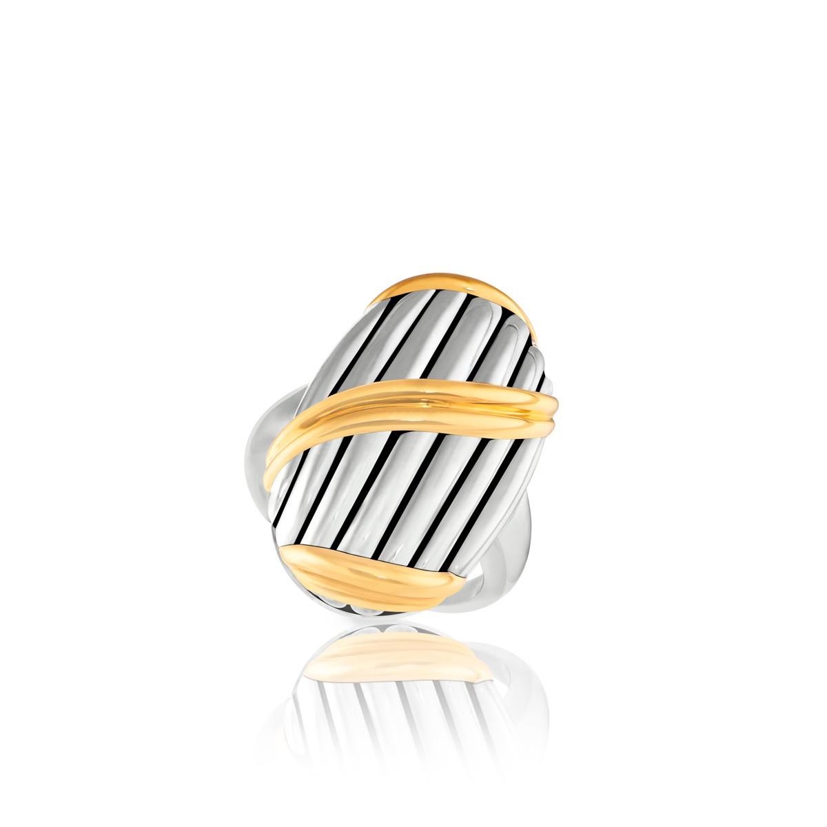 Signature Classic Shield Statement Ring in two tone sterling silver