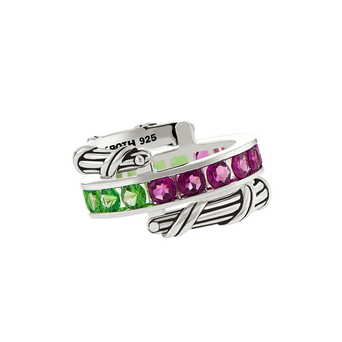 Signature Classic Reversible Ring with Tsavorite and Rhodolite in sterling silver