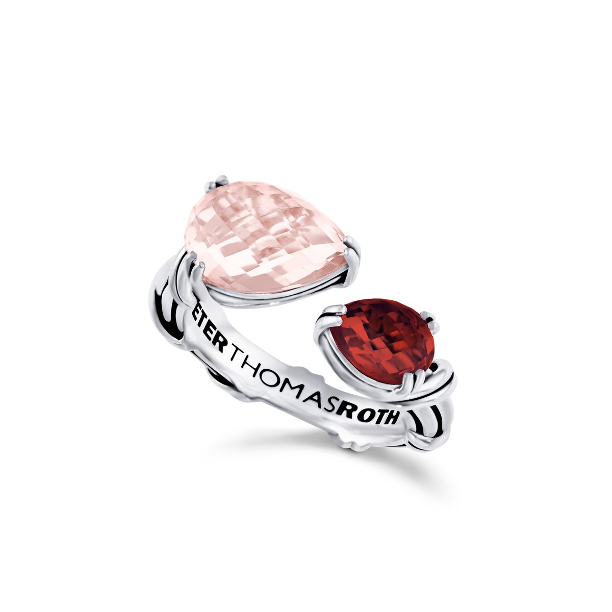 Fantasies Pear Bypass Ring in sterling silver with rose quartz and garnet