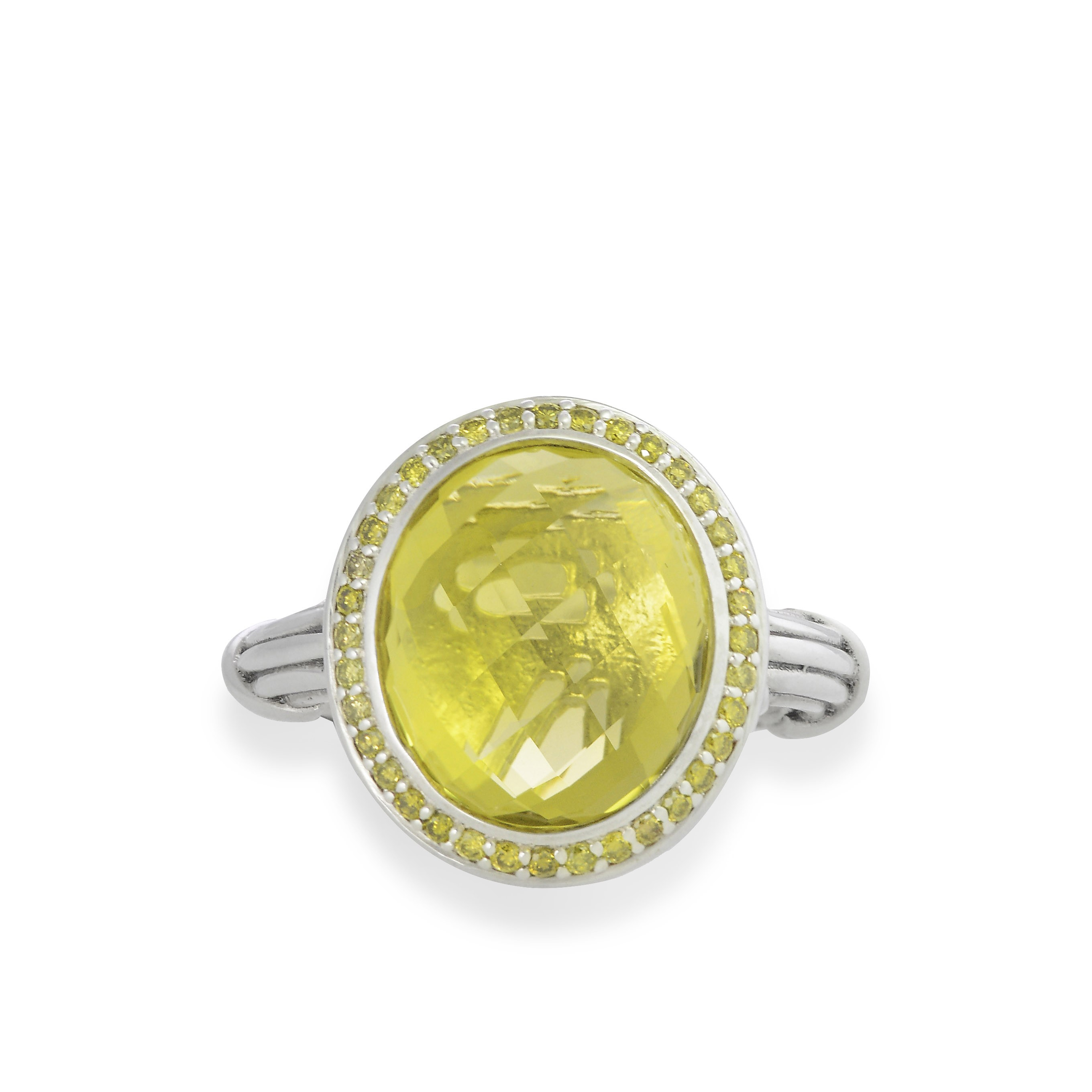 Fantasies Lemon Citrine Halo Ring in sterling silver with yellow diamonds