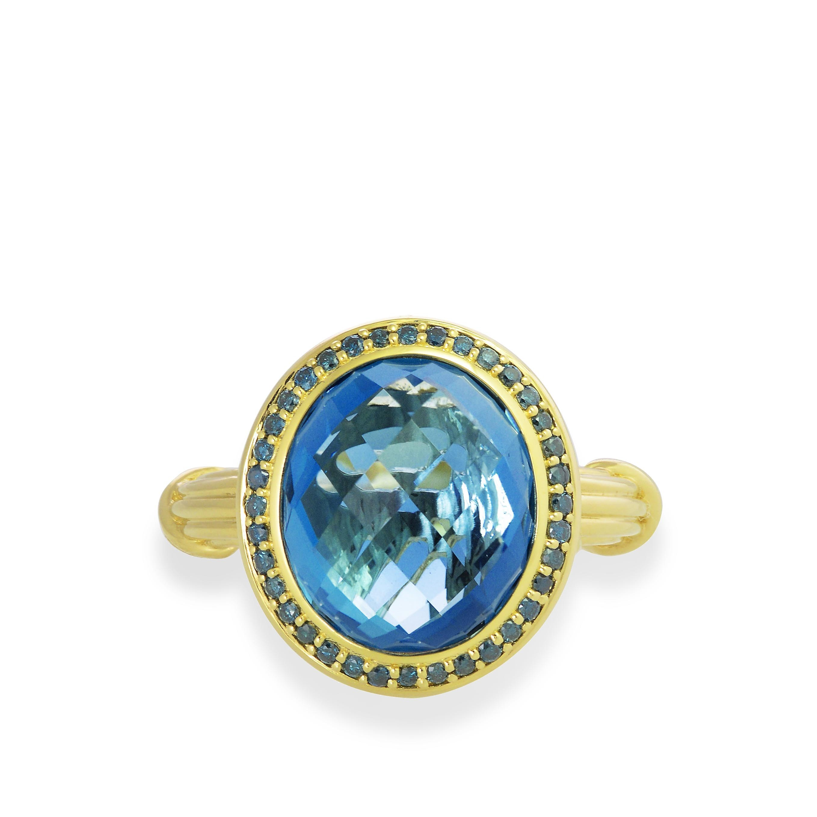 Fantasies London Blue Topaz Halo Ring in 18K yellow gold with blue diamonds