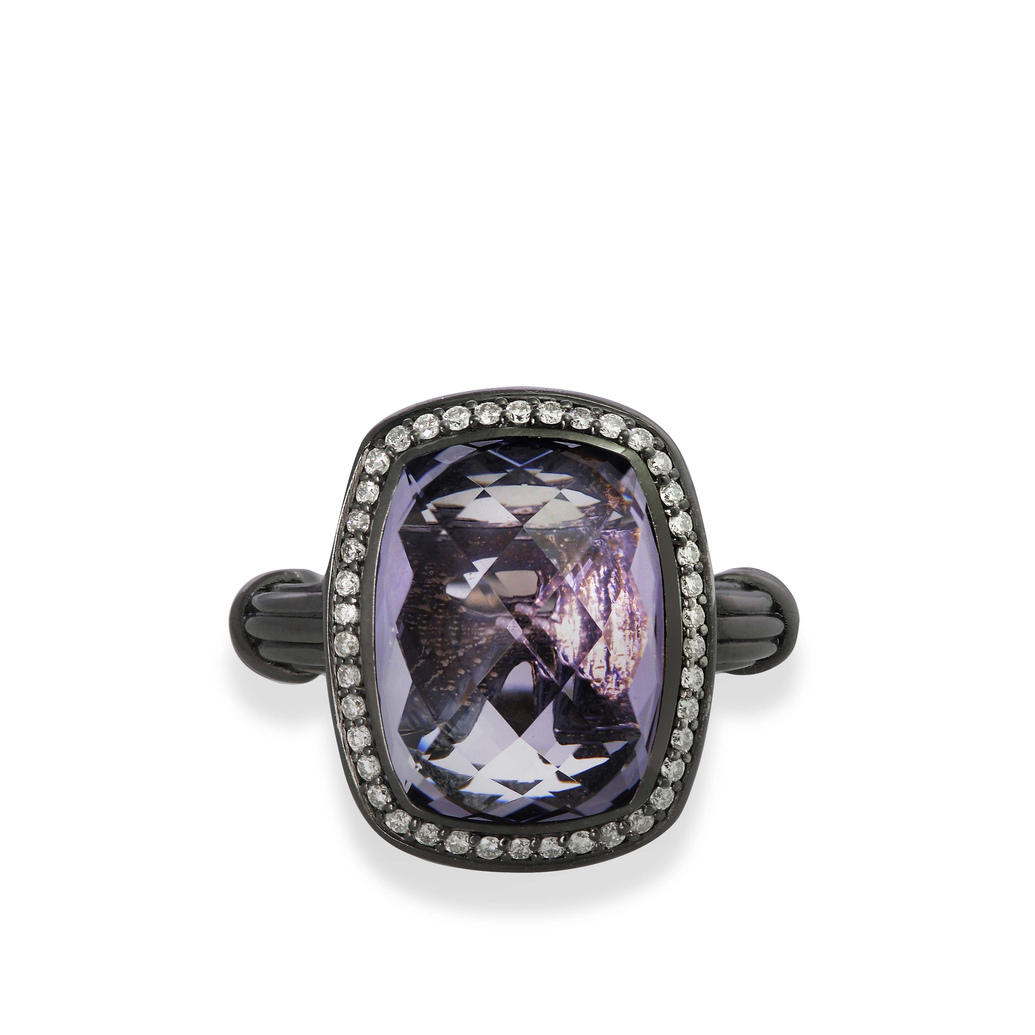 Fantasies Lavender Amethyst Halo Ring in ruthenium silver with diamonds