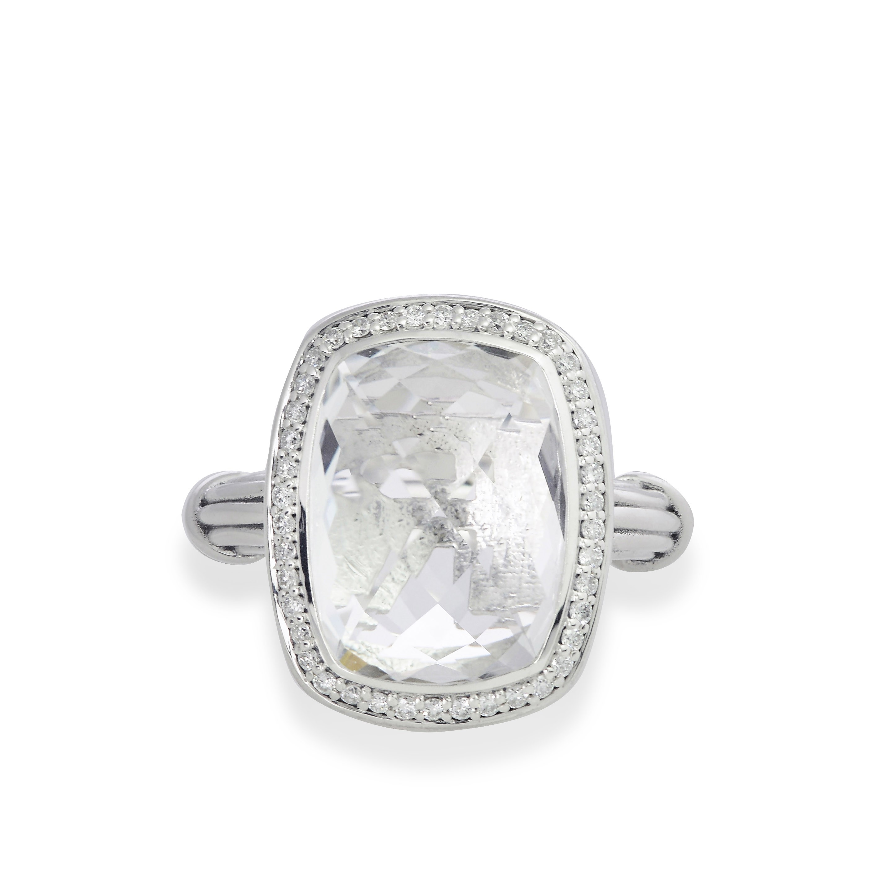 Fantasies Rock Crystal Halo Ring in sterling silver with diamonds
