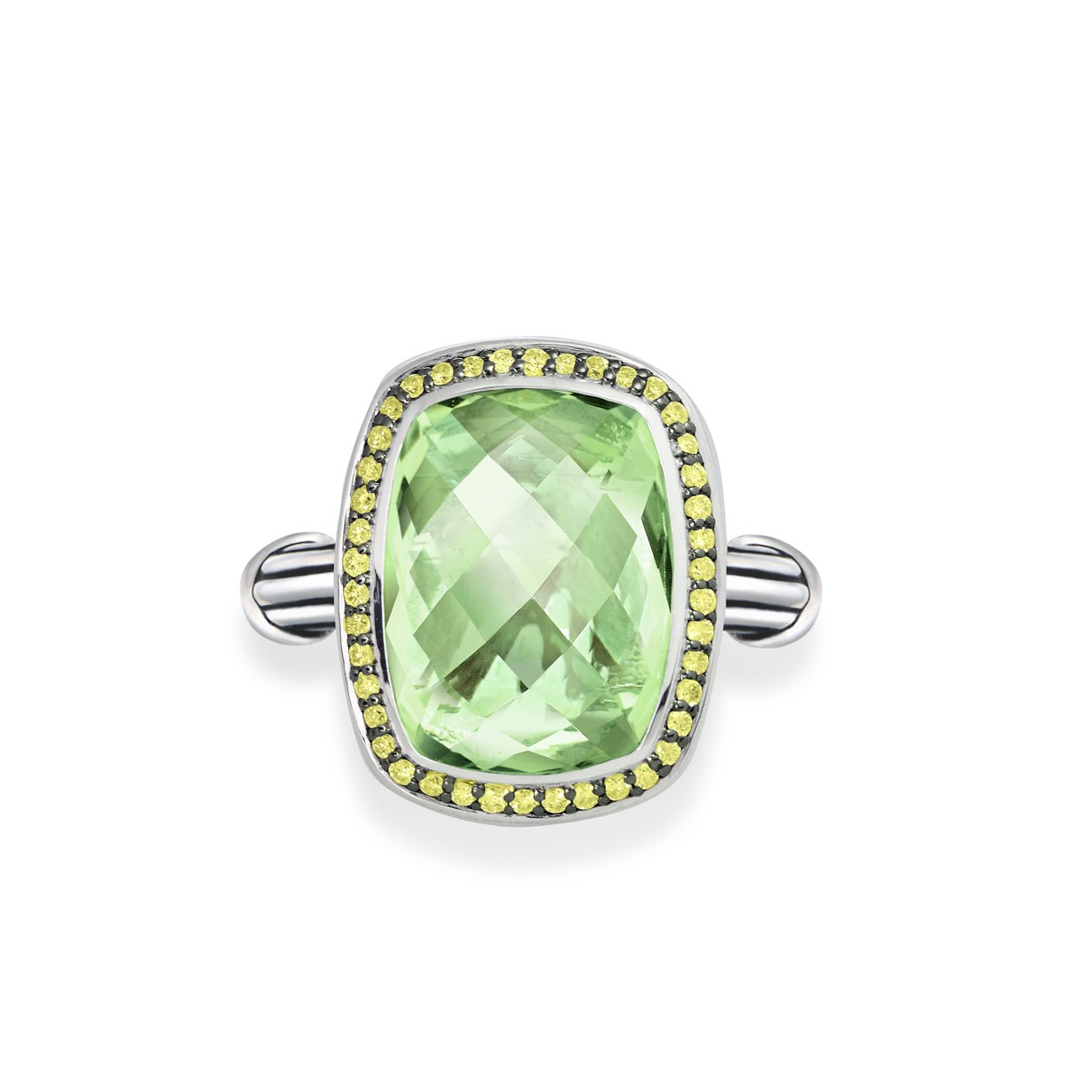 Fantasies Prasiolite Halo Ring in sterling silver with yellow sapphires