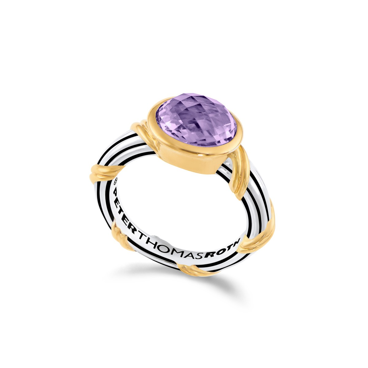 Fantasies Amethyst Oval Bezel Set Ring in two tone sterling silver