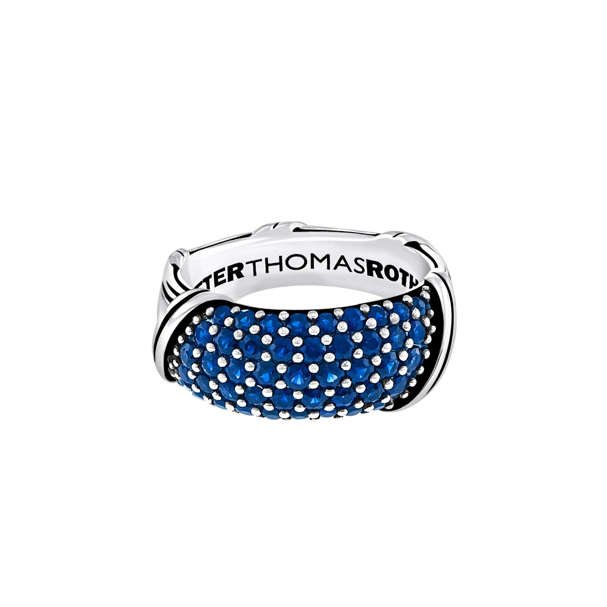 Signature Classic Pave Band Ring with blue sapphires in sterling silver