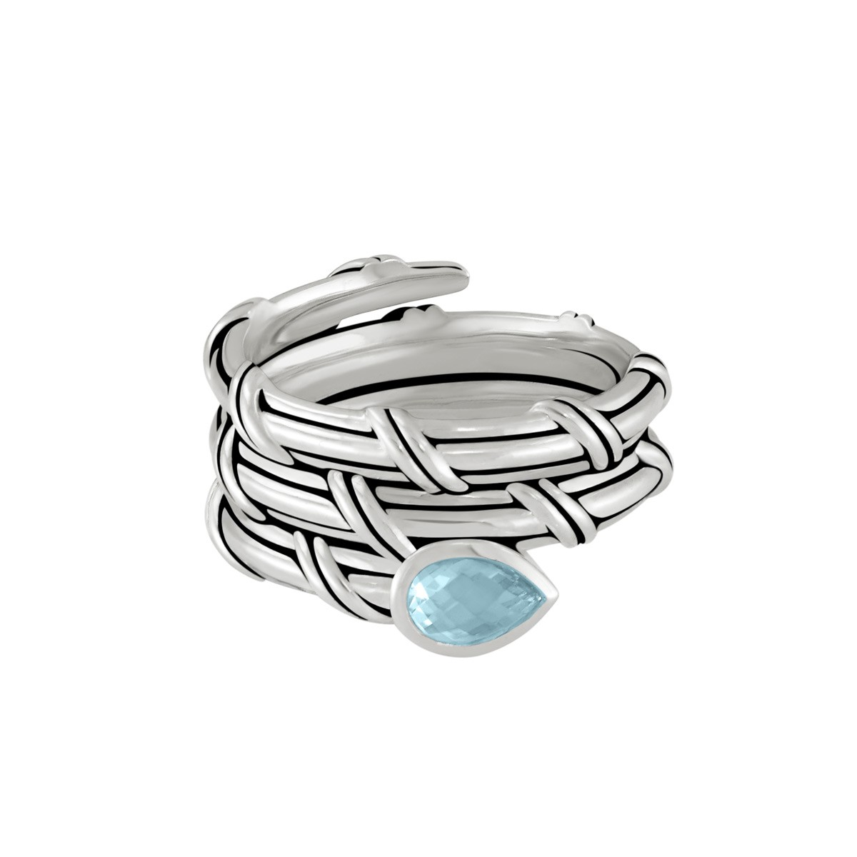 Signature Classic Wrap Ring with blue topaz in sterling silver