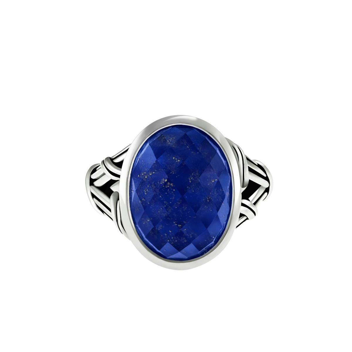 Fantasies Lapis Doublet Cocktail Ring with rock crystal in sterling silver