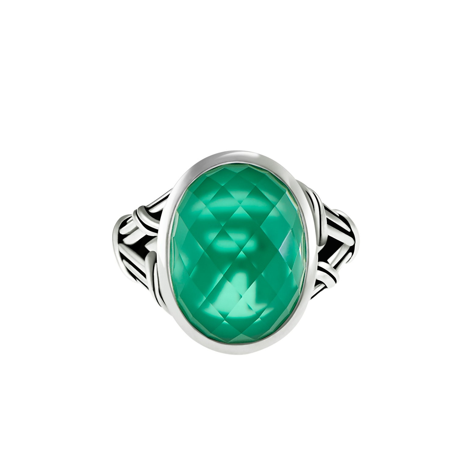 Fantasies Green Onyx Doublet Cocktail Ring with rock crystal in sterling silver