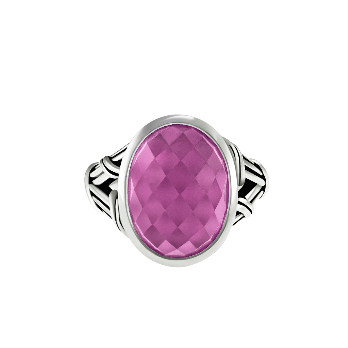 Fantasies Ruby Doublet Cocktail Ring with rock crystal in sterling silver