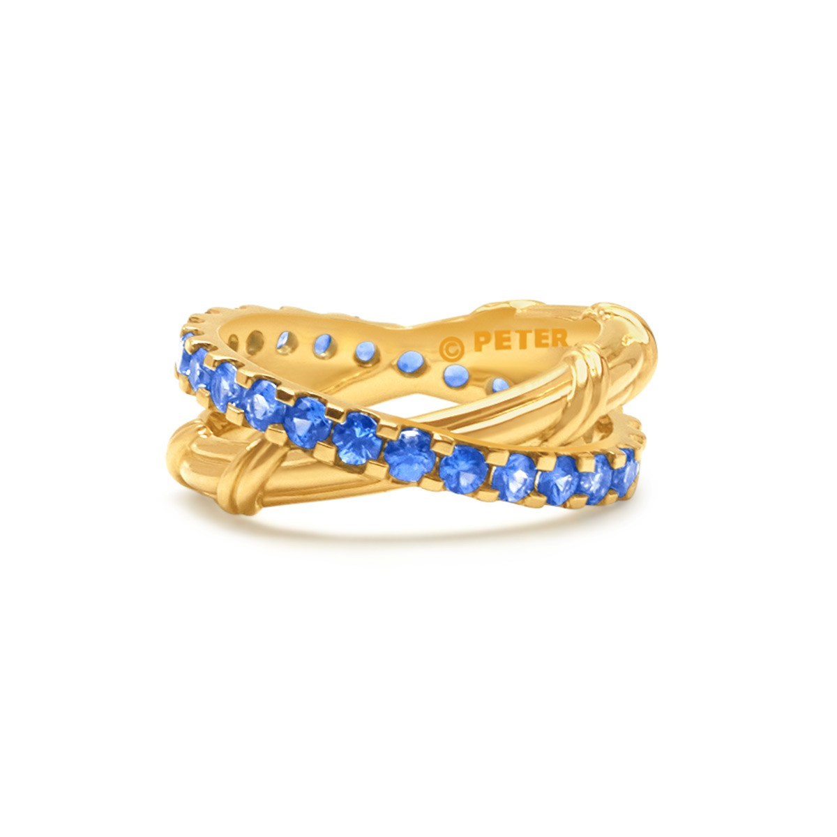 Heritage Criss Cross Ring with ceylon sapphires in 18K yellow gold