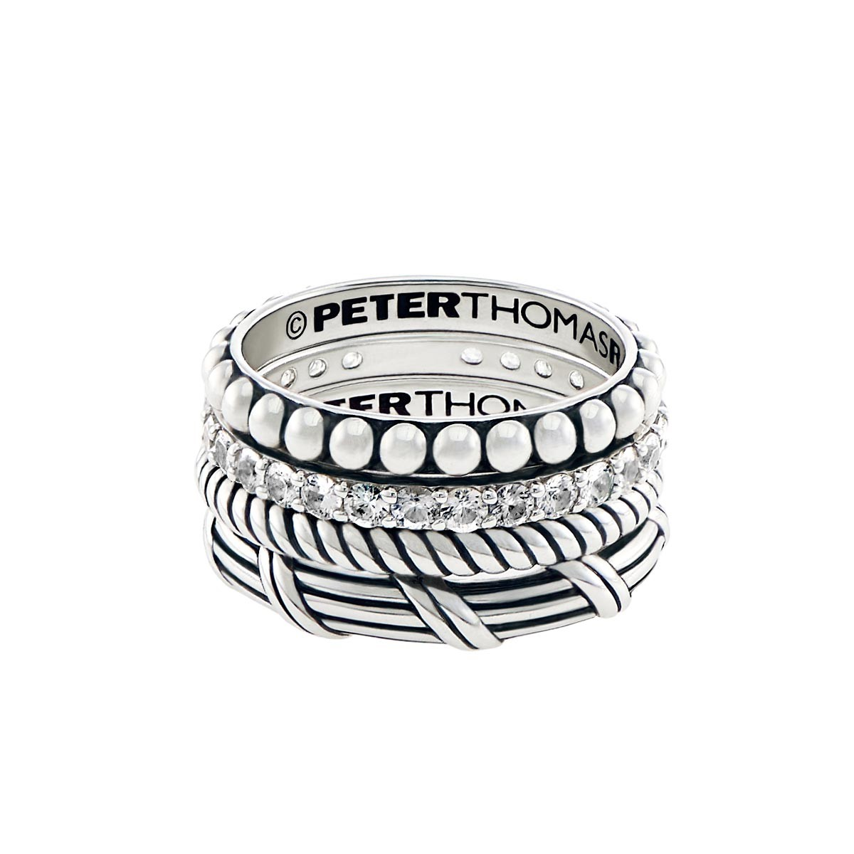 Signature Classic Stack Ring Set with white topaz in sterling silver