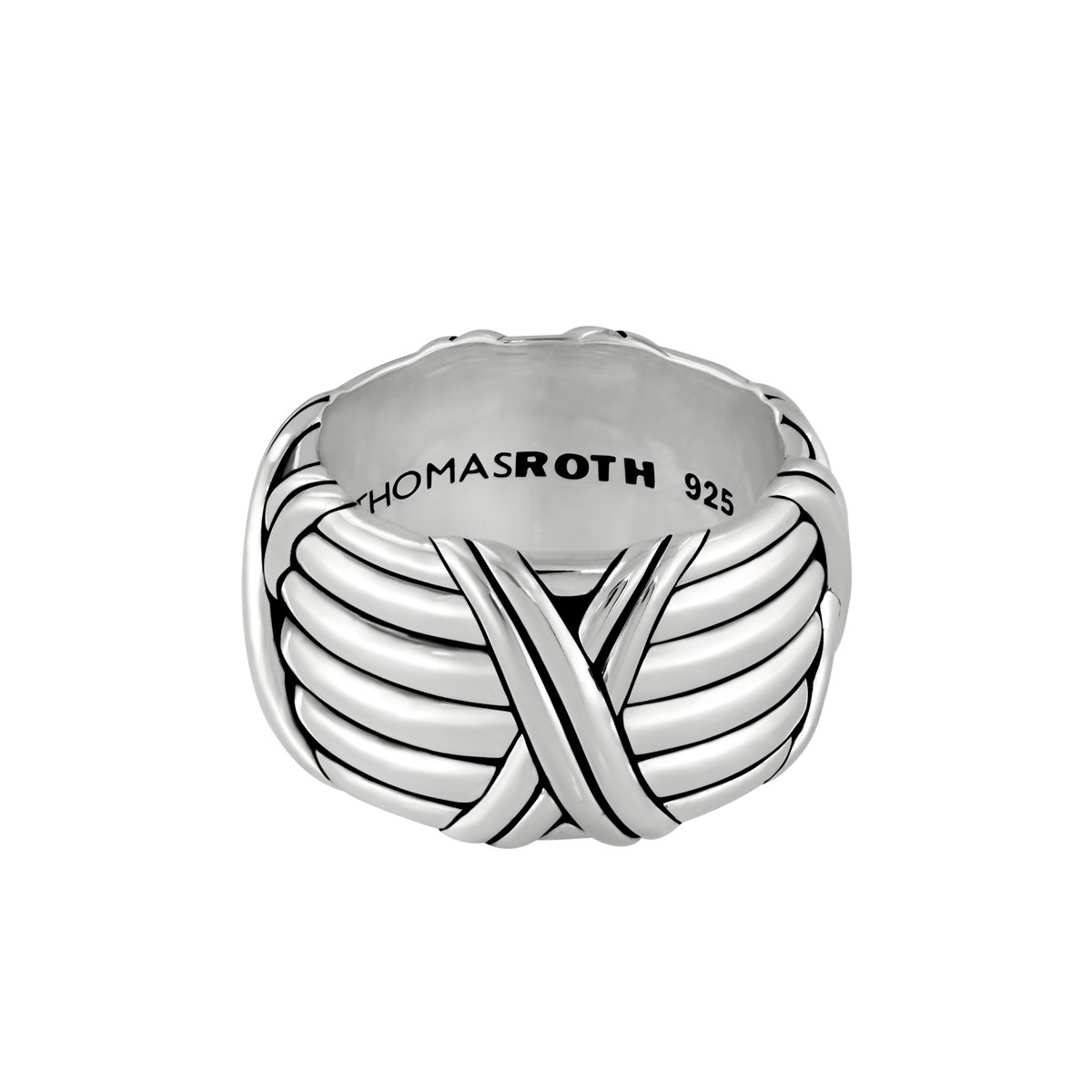 Signature Classic Kiss Wide Band Ring in sterling silver