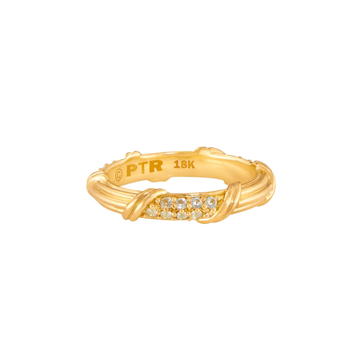Heritage Pave Band Ring with white sapphires in 18K yellow gold 3mm