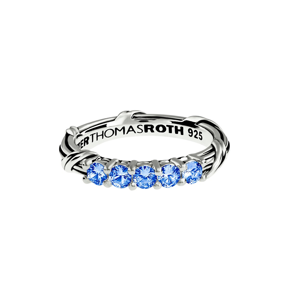Signature Classic Five Stone Band Ring with Ceylon sapphires in sterling silver