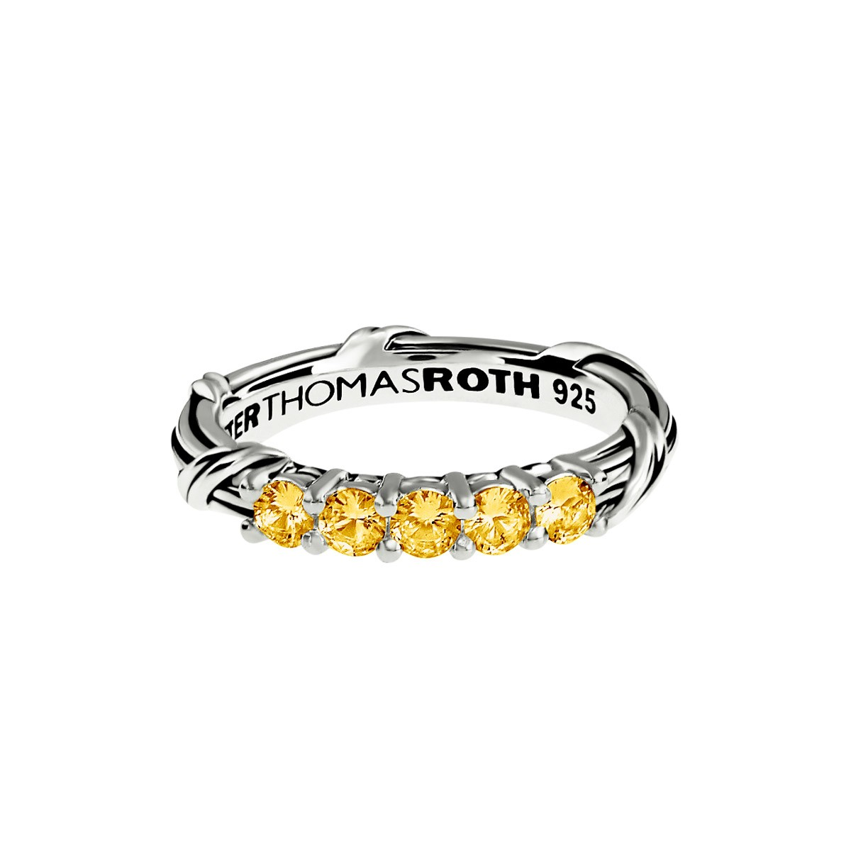 Signature Classic Five Stone Band Ring with yellow sapphires in sterling silver