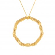 Heritage Circle Pendant Necklace in 18K yellow gold 1.5""