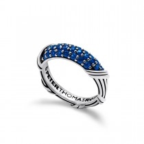 Signature Classic Pave Band Ring with blue sapphires in sterling silver 5mm
