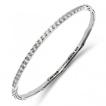 Signature Classic Stack Oval Bangle with white topaz in sterling silver
