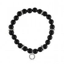 Explorer Bead Bracelet in sterling silver with matte black chalcedony