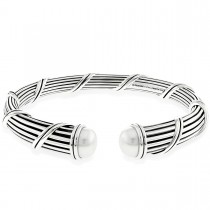 Signature Classic Pearl Tapered Cuff in sterling silver