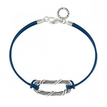 Rectangle Link Bracelet in sterling silver and navy blue leather