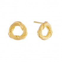 Heritage Circle Stud Earrings in 18K yellow gold petite