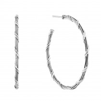 Signature Classic Hoop Earrings in sterling silver 1.5""