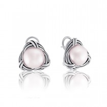 Love Knot Omega Back Earrings in sterling silver with pink pearls