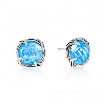 Fantasies Blue Topaz Stud Earrings in sterling silver 10mm