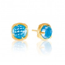 Fantasies Blue Topaz Stud Earrings in 18K yellow gold 10mm