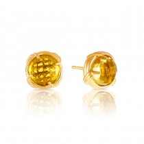 Fantasies Citrine Stud Earrings in 18K yellow gold 10mm