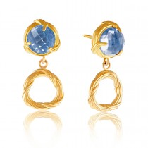 Fantasies London Blue Topaz Circle Drop Earrings in 18K yellow gold
