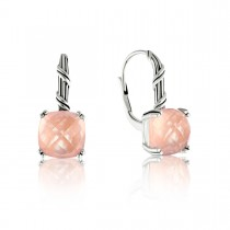 Fantasies Rose Quartz Drop Earrings in sterling silver