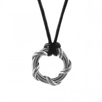 Explorer Circle Necklace in ruthenium silver and leather 1""