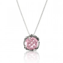 Fantasies Rose Quartz Necklace in sterling silver 10mm