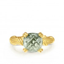 Fantasies Prasiolite Cocktail Ring in 18K yellow gold