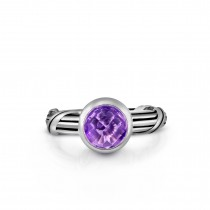 Fantasies Amethyst Solitaire Ring in sterling silver