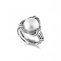 Love Knot Cocktail Ring in sterling silver with white pearl
