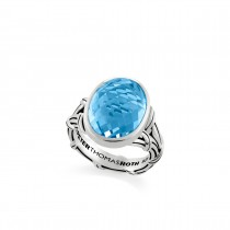 Fantasies Oval Blue Topaz Split Shank Cocktail Ring in sterling silver