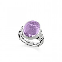Fantasies Oval Lavender Amethyst Split Shank Cocktail Ring in sterling silver