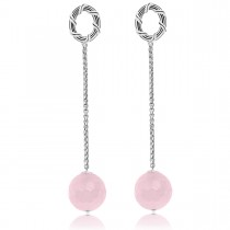 Bead Chain Earrings in sterling silver with rose quartz