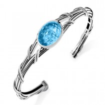 Fantasies Oval Statement Cuff with blue topaz in sterling silver